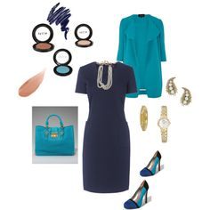 Can never go wrong with a solid dress with accessories!