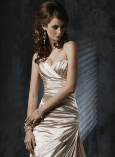 Gold satin gown by Maggie Sottero