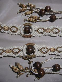 Купить Плетеный пояс с деревянными бусинами в интернет магазине на Ярмарке Мастеров