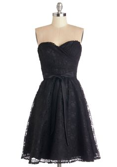 Dancing Upon Air Dress, #ModCloth Black lace is classic. This dress is formal, but slightly racy too.