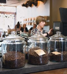 Top 10 Boutique Coffee Shops Large glass jars for coffee, and baked goods that can be stacked Coffee Shop Business, Best Coffee Shop, I Love Coffee, Coffee Break, Coffee Time, Cafe Restaurant, Coffee Display, Mein Café, Opening A Coffee Shop