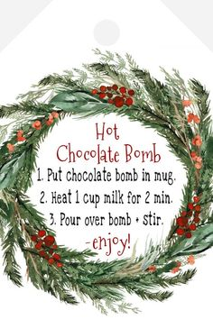 """Hot Chocolate Bomb Instructions Favor Tag Template - Set of 3 - Rectangle + Round + Square - 100% Editable - Download & Print Today - Download as a PDF & use the """"save paper"""" option WITH """"trim marks"""" to get the most tags per page.★MATCHING ITEMS:............................................................................................If you need any matching items.. or have a new idea for your Christmas needs, please message me. I'm here to help!★EDIT RIGHT IN YOUR BROWSER WITH TEMPLET Homemade Christmas Gifts, Christmas Goodies, Christmas Printables, Christmas Candy, Christmas Baking, Christmas Gift Tags Printable Free, Diy Christmas Gift Tags, Christmas Ideas, Christmas Crafts"""
