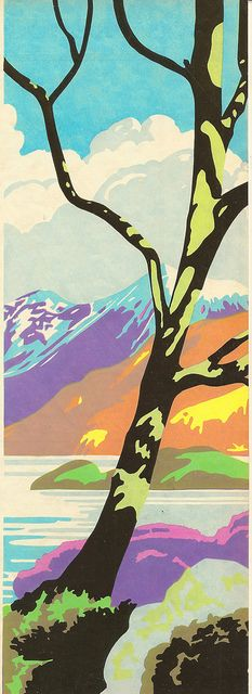 Brain Cook of Batsford - tree and mountain landscape - illustration using Berte method, c1935