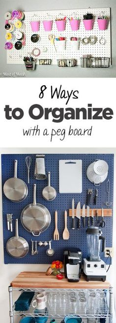 Though this pin is about '8 Ways to Organize With a Peg Board,' this particular image shows a clever way to organize a kitchen, especially if space is limited. I love the color pop too!