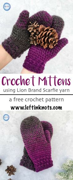This free crochet pattern combines texture and warmth to give you a beautiful and functional pair of mittens for the coldest winter days. They take less than one skein of Lion Brand Scarfie yarn and will be a perfect addition to your last-minute gift list Crochet Mittens Pattern, Crochet Gloves, Crochet Slippers, Crocheted Hats, Knitting Stitches, Knitting Patterns Free, Crochet Patterns, Free Pattern, Crochet Ideas