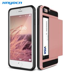 Luxury Slim Hybrid Credit Card pocket wallet pouch Phone case PC Back Cover for Apple iPhone 6 6s 4.7'' 7 plus 5.5 inch cases