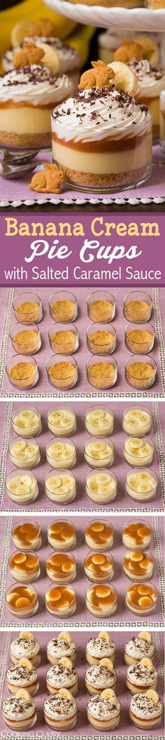 use Annie's bunny crackers! of course! Or carrot cake! Banana Cream Pie Cups with Salted Caramel Sauce - these are seriously DREAMY! Love all these layers! Mini Desserts, Easy Desserts, Delicious Desserts, Dessert Recipes, Yummy Food, Cupcakes, Cupcake Cakes, Salted Caramel Sauce, Dessert Cups