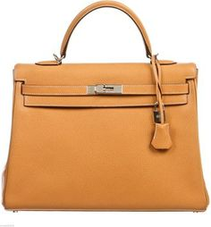 Hermes Kelly Retourne 35cm Vache Liegee Leather Handbag With Shw (w/ Box) Gold Bag - Satchel $10,995
