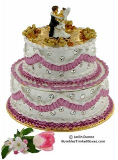 A Pink and White Wedding Cake Enameled and set w/Crystals - Gold Topped w/Wedding Couple Cake Topper Trinket Box♥•♥•♥