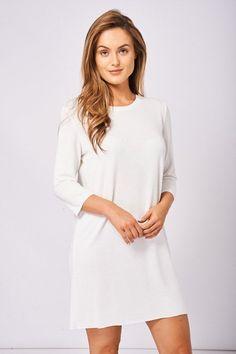 Weekend getaway outfit. Women's T-Shirt Cream Tunic Dress, Soft Touch   Love Me Trender