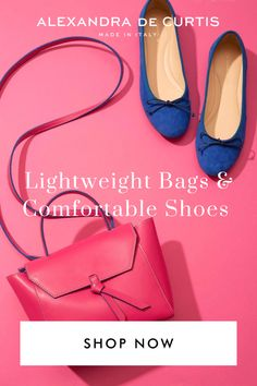 Our lightweight bags and comfortable shoes will help you go places, with minimum fuss and maximum style. Get 10% off your first order: www.alexandradecurtis.com/join Italian Leather Handbags, Designer Leather Handbags, Pink Bags, Blue Bags, Blue Handbags, Satchel Handbags, Comfortable Ballet Flats, Italian Shoes, How To Make Handbags