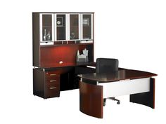"Napoli Series 72"" W U-Shape Computer Desk with Hutch"