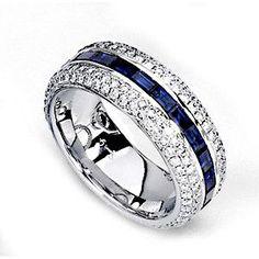 Simon G diamond & Sapphire band #weddingbands #mens #charismajewelers