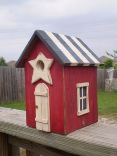 Americana Birdhouse Red White and Blue by mulberrylanefolkart