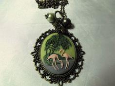 Retro Pink Flamingo Necklace Cameo Bronze Pearls by AGothShop, $16.00
