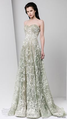 tony ward fall winter 2016 2017 rtw strapless sweetheart pale powder green white a line evening gown wedding inspiration