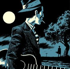 Michael Cho, Two Tone Illustration # 12: Robert Johnson (Crossroads)