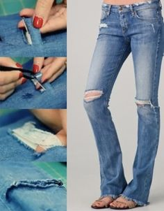 DIY HOW TO RIP JEANS AND LEAVE THE WHITE THREAD - YouTube | sewing ...