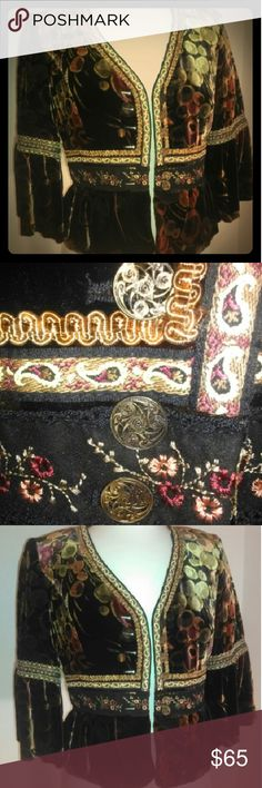 Cynthia Steffe Boho Velvet Jacket Sz 8 Beautiful Velvet jacket with gold trimmings in great condition. Jackets & Coats