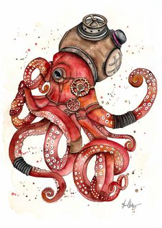 A whimsical and mystical creature of the deep blue ocean, letting nothing get in his way. This piece is inspired by steampunk in all its delicate and ornate glory.'Somewhere, something incredible is waiting to be known'. Steampunk Animals, Steampunk Octopus, Octopus Drawing, Octopus Art, Octopus Painting, Kraken Art, Steampunk Drawing, Octopus Tattoos, Spirit Animal