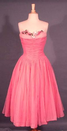 Terrific Two Toned Pink Chiffon Strapless 1950's Prom Dress via Vintageous.