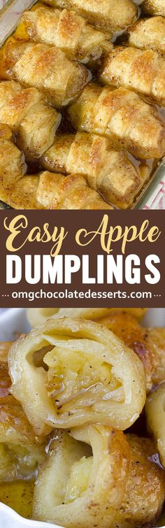 Dumplings These Easy Country Apple Dumplings are soft and gooey on the bottom, but crispy on top, and they taste like apple pie.These Easy Country Apple Dumplings are soft and gooey on the bottom, but crispy on top, and they taste like apple pie. Fruit Recipes, Desert Recipes, Apple Recipes, Sweet Recipes, Cooking Recipes, Cooking Tips, Recipies, Apple Desserts, Köstliche Desserts