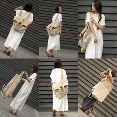 Unique design, made in a short series (only 5 units), cotton - linen multi-purpose large shoulder bag. It's unusual bag - on the one hand you can wear it as a s beige white patchwork large canbas-linen backpack-shoulder bag Materials used: cotton with lin Beige Shoulder Bags, Diy Sac, Linen Bag, Big Bags, Fabric Bags, Large Canvas, Shopper, Casual Bags, Handmade Bags