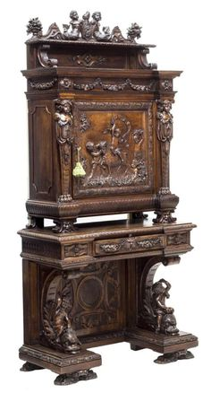 Italian walnut carved secretary cabinet, c., the whole with substantial figural and foliate carving including fl. Wood Bedroom Furniture, Victorian Furniture, Vintage Furniture, French Furniture, Inexpensive Furniture, Unique Furniture, Cheap Furniture, Wood Tile Bathroom Floor, Furniture Catalog