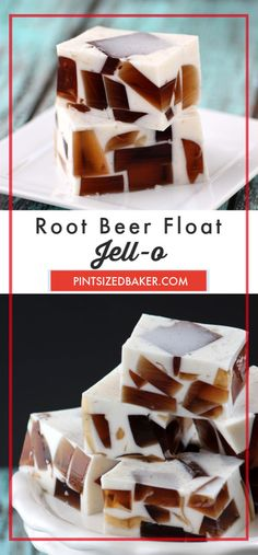 Root Beer Float Jello Recipe - Pint Sized Baker Who doesn't love a root beer float in the summer? This jell-o dessert is going to blow your mind. Made with real vanilla ice cream and root beer, this treat is going to be your new favorite dessert. Jello Dessert Recipes, Gelatin Recipes, Candy Recipes, Fun Desserts, Sweets Recipes, Recipes Dinner, 100 Calories, Cobbler, Mousse
