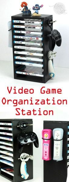 Organize your video game system with this DIY storage rack made from a single board.  A place for your controllers, games and even your Infitity Characters! .jpg