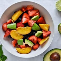 Avocado Lime Fruit Salad...not sure about the combination, but seems interesting.