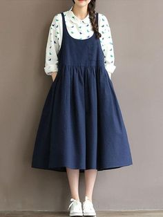 Specification: Sleeve Length:Sleeveless Color:Navy Style:Casual,Fashion Pattern:Pure Color Material:Polyester,Cotton Season:Summer Package # women's Fashion Vintage Loose Strap Pocket Pure Color Dresses For Women Modest Fashion, Hijab Fashion, Korean Fashion, Fashion Dresses, Fashion Clothes, Casual Mode, Style Casual, Navy Style, Cheap Dresses