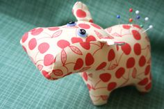 Soft hippo.  Seems sad to stab him with pins.  amygunson on flickr