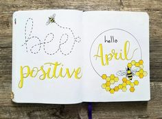 Bullet journal monthly cover page, April cover page, bee drawing, honeycomb drawing. Doodle Bullet Journal, Bullet Journal Spreads, April Bullet Journal, Bullet Journal Quotes, Bullet Journal Cover Page, Bullet Journal Notebook, Bullet Journal Ideas Pages, Bullet Journal Layout, Journal Covers