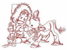 Girl and calf 3 machine embroidery design. Machine embroidery design. www.embroideres.com