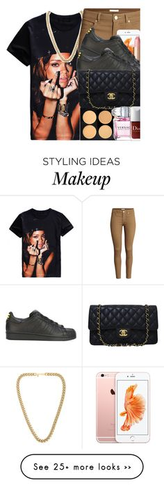 """Untitled #56"" by ayeeitsamira on Polyvore featuring Kenneth Jay Lane, H&M, Charlotte Tilbury, adidas Originals and Chanel"