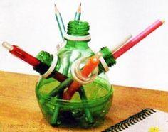 Creative reuse ideas for plastic bottles - Little Piece Of Me Plastic Bottle Caps, Reuse Plastic Bottles, Recycled Bottles, Recycled Crafts, Soda Can Crafts, Desk Caddy, Pet Bottle, Soda Bottles, Door Makeover