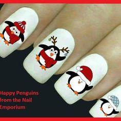 Christmas Gel Nails, Christmas Decals, Christmas Nail Designs, Holiday Nails, Santa Nails, Snowman Nails, Penguin Nail Art, Types Of Nails, Nail Decals