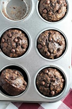 Double Chocolate Banana Oatmeal Muffins have oats, cocoa, buttermilk, applesauce, and chocolate chips. They are chocolatey, moist, easy, and quick. Crockpot Recipes, Dog Food Recipes, Banana Oatmeal Muffins, Chocolate Recipes, Chocolate Chips, Fabulous Foods, Desert Recipes, Recipe Using, Yummy Food