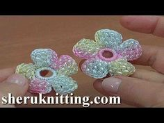 How to Make a Crochet Simple Flower With Beads Tutorial 157 - YouTube