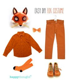 Easy mask to throw together fox costume with fox mask, masque téléchargeable gratuitement. Kids Fox Costume, Animal Costumes Diy, Kids Costumes Boys, Boy Costumes, Halloween Costumes For Kids, Costume Ideas, Fox Fancy Dress, Fancy Dress For Kids, World Book Day Costumes