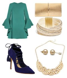 """""""Gold with Color"""" by tylir-penton on Polyvore featuring Schutz, Nina Ricci and GUESS"""