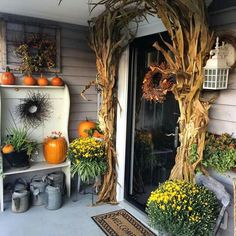 Fall front door! The corn stocks might be a little to tall around the door...