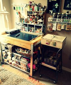 Mini Mixed Media / Art Journaling Studio I want to reduce my current studio down to this!