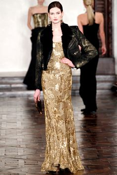 "Nothing says ""I don't give a damn..."" like a bomber jacket over an evening gown: Ralph Lauren FW12 look#51"