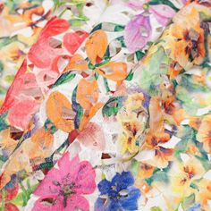 Multicolor Tropical Floral Lace w/ Finished Edges Fabric by the Yard | Mood Fabrics