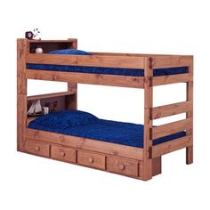 bunk beds with headboard shelves
