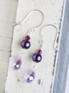 Violet Lavender Silver Earrings by beesandbuttercups on Etsy, $23.00