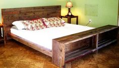 Wood Platform Bed With Tables