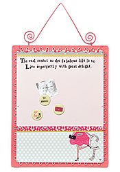 Curly Girl - Live Imperfectly Memo Board Measures: 13 x 17 Includes: Three Magnets  Full Saying: The secret to the fabulous life is to live imperfectly with great delight. Purchase @ www.curlygirlstore.com